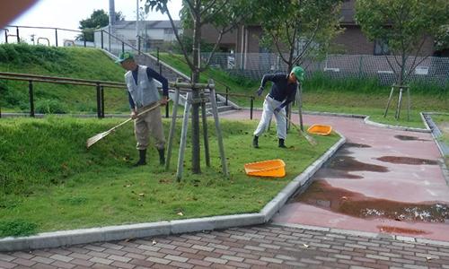 公園清掃中